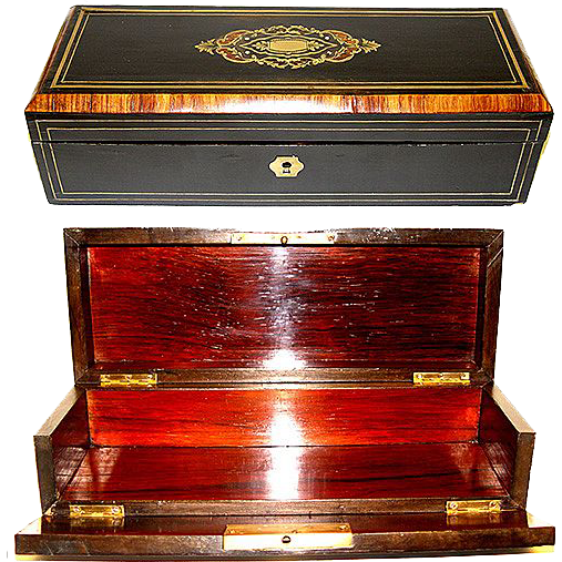 Elegant Antique French Napoleon III Glove or Document Box, Casket
