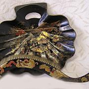 Antique Victorian Chinoiserie Papier Mache Crumb Tray & Brush Set