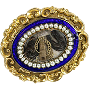 Antique Enamel Mourning Brooch, 12K Gold, Seed Pearls - French Hair Art Locket