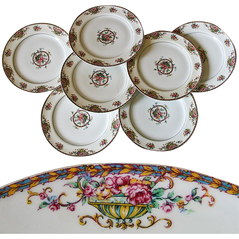 "Set of 7 Vintage Haviland, Limoge  7.5"" Salad, Dessert Plates - Pattern: Commodore, Haviland & Co, Limoge, France"