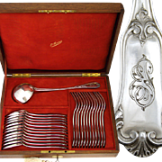 Antique French PUIFORCAT .800/1000 Silver 25pc Flatware Set: 12/12 Dinner Forks & Spoons, 2200 gm