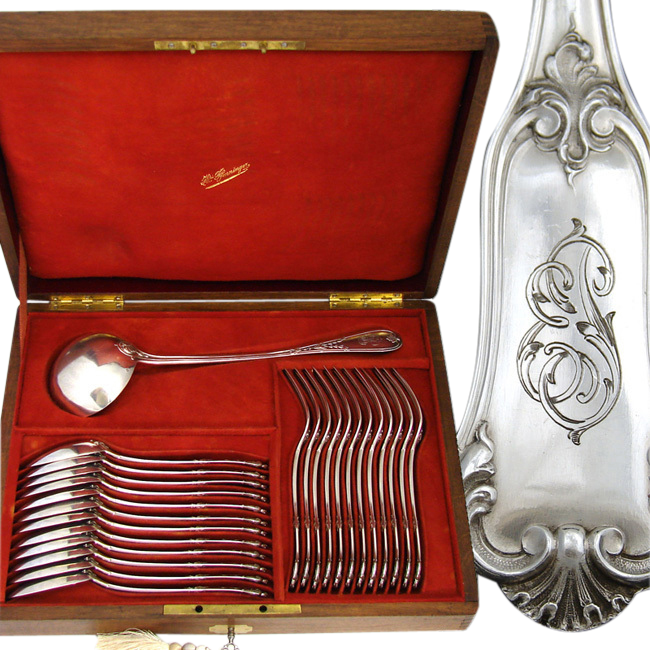 Antique French PUIFORCAT .800/1000 Silver 25pc Flatware Set: 12/12 Dinner Forks & Spoons, 2200 gm