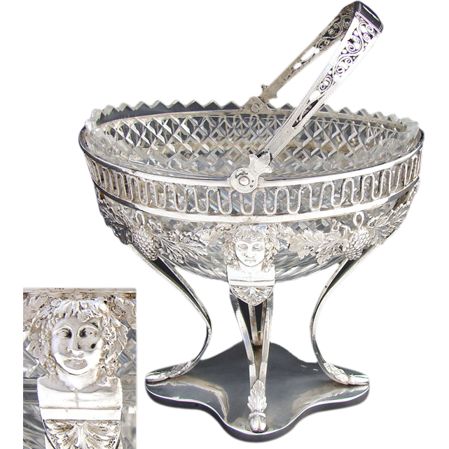 Antique Continental Silver .800/1000) & Crystal Bonbon Basket, Figures
