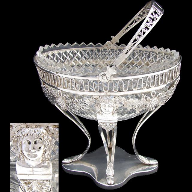 Antique Continental Silver .800/1000) & Crystal Bonbon Basket, Figures