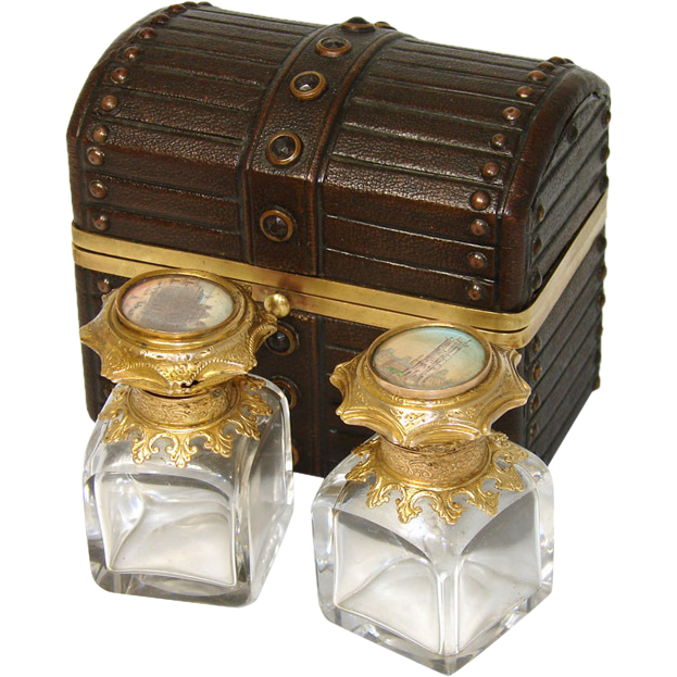 Antique Grand Tour Perfume Casket, Two HP Eglomise Scents