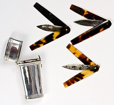 Antique Medical Lancets in Sterling Silver Etui, Georgian, London, 1830, Tortoise Shell - Tortoiseshell