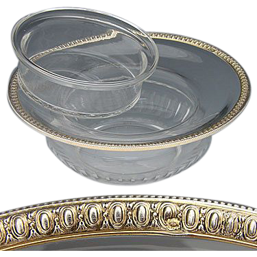 Antique French Sterling Silver & Cut Glass Caviar Serving Dish, 2pc