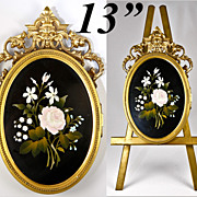 Fine Large Antique Pietra Dura Locket Frame and Easel Stand, Florals of Italy Micro Mosaic