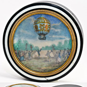 Antique French Table Snuff Box with Miniature Painting, Louis XIV's Hot Air Balloon at Versailles