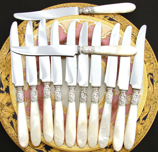 "Elegant Antique French Sterling Silver & Mother of Pearl 12pc 8"" Knife Set, Box"
