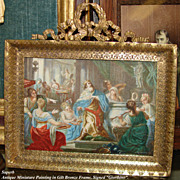 "Large Antique HP Miniature Painting, Marvelous Figural Grouping with King: Signed ""Giordano"""