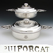 Exceptional & RARE Matched Pair of Antique French PUIFORCAT Sterling Silver Ecuelle, Covered Serving Dishes