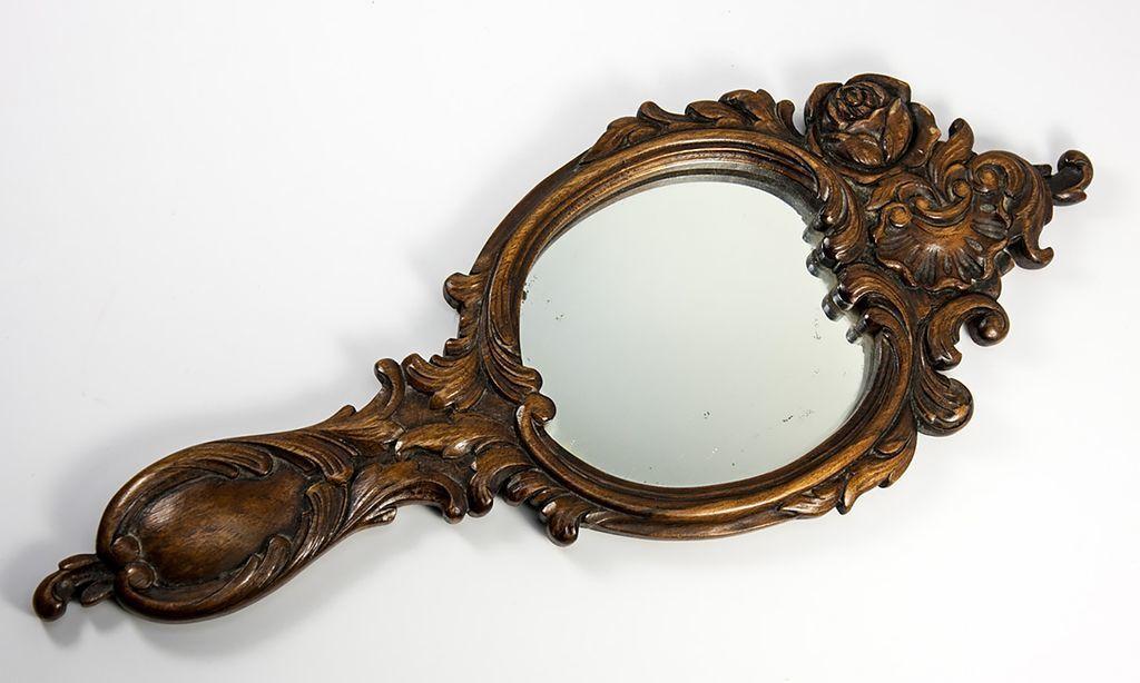 "Large 14.5"" Long Hand Carved Black Forest Frame & Mirror, c. 1880"