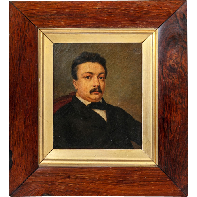 Antique Victorian Portrait in Oil, Miniature or Small in Size, Elegant Burled Wood & Parcel Gilt Frame