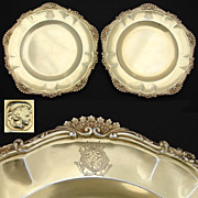 "Antique French Vermeil Sterling Silver 9"" Serving Dish PAIR, Ornate Rococo Borders"