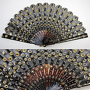 Antique French Fan, Black Mesh Embroidered with Sequins, Pique Work c. 1830