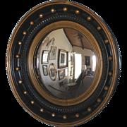 "Antique French Convex Sorcerer's Mirror in Napoleon III Frame, 18.75"" Diam"