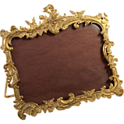 "Antique French Ormolu Photo Frame, RARE Horizontal 4""x 6"", Easel Stand, Rocaille"