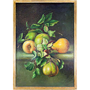 "Antique French Oil Painting, Fruit Still Life, in Wood Frame, 17.5"" x 19.5"""