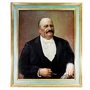 "Superb Antique Oil Painting, Portrait of Distinguished Gent, in Frame 34.5"" x 29.25"""