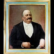 "Superb Antique Oil Painting, Portrait of Distinguished Gent, in Frame 34.5"" x 29.25"""