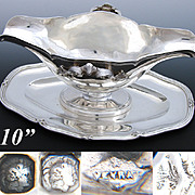 "Elegant Antique French Sterling Silver 10"" Sauce or Gravy Boat w/ Base Tray, 1832-40"