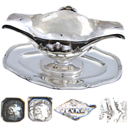 """Elegant Antique French Sterling Silver 10"""" Sauce or Gravy Boat w/ Base Tray, 1832-40"""