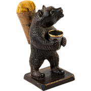 Antique Hand Carved Black Forest Bear Thimble Holder and Pin Cushion, Sewing Stand