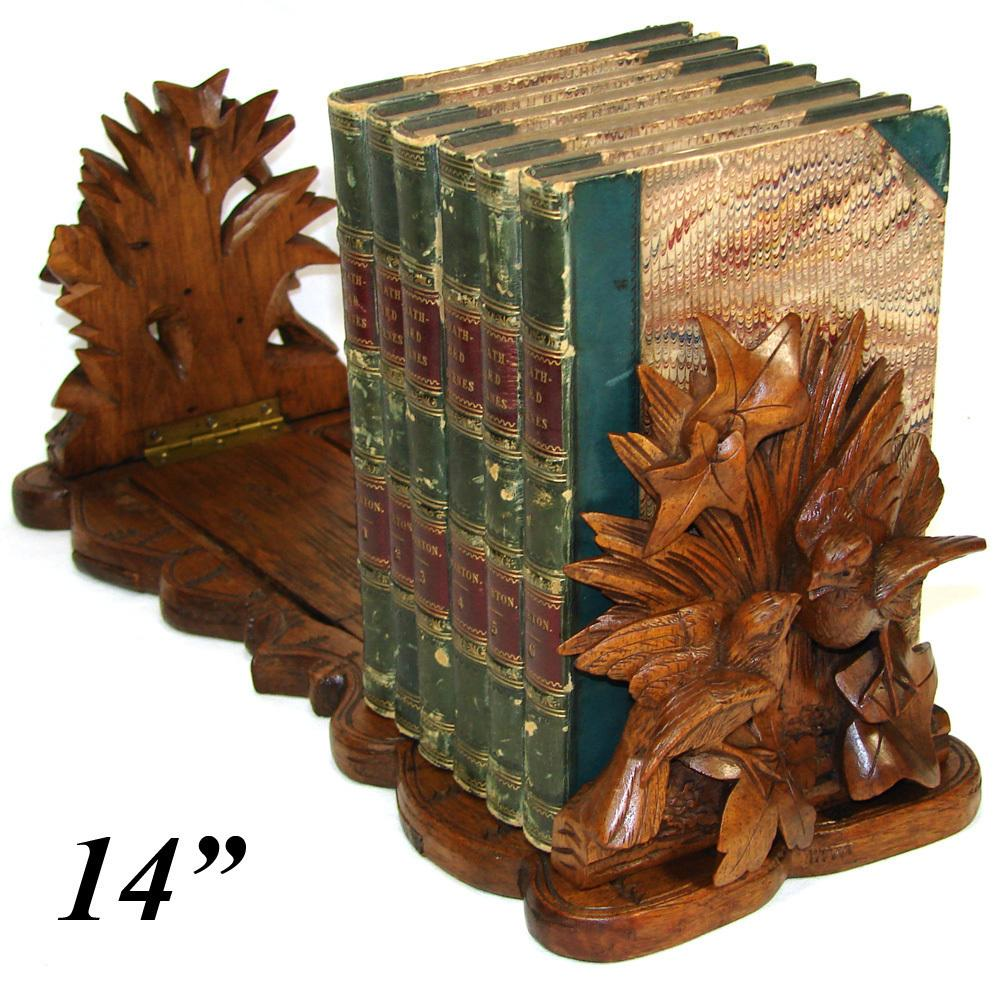 "Antique Black Forest 14.25"" Desk Top Book Rack, Ornate 2 Bird Figural Grouping & Foliage"