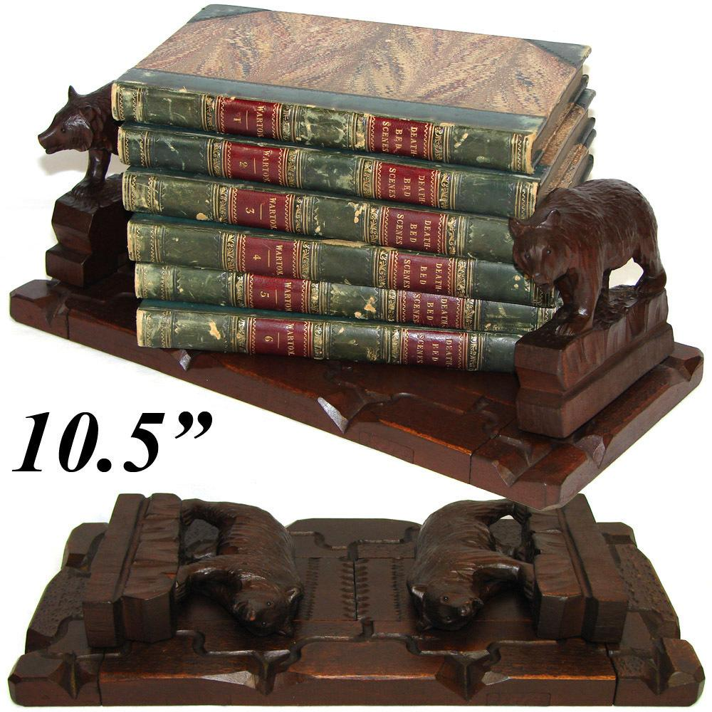 "Antique Hand Carved Swiss Black Forest 10.5"" Book Rack, 2 Bears, Breinz? & Glass Eyes"