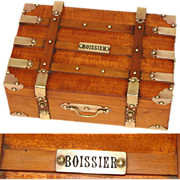 Rare Antique French Boissier Chocolatier's Confection Box, Brass Strapped Suitcase or Steamer Trunk Form c. 1900