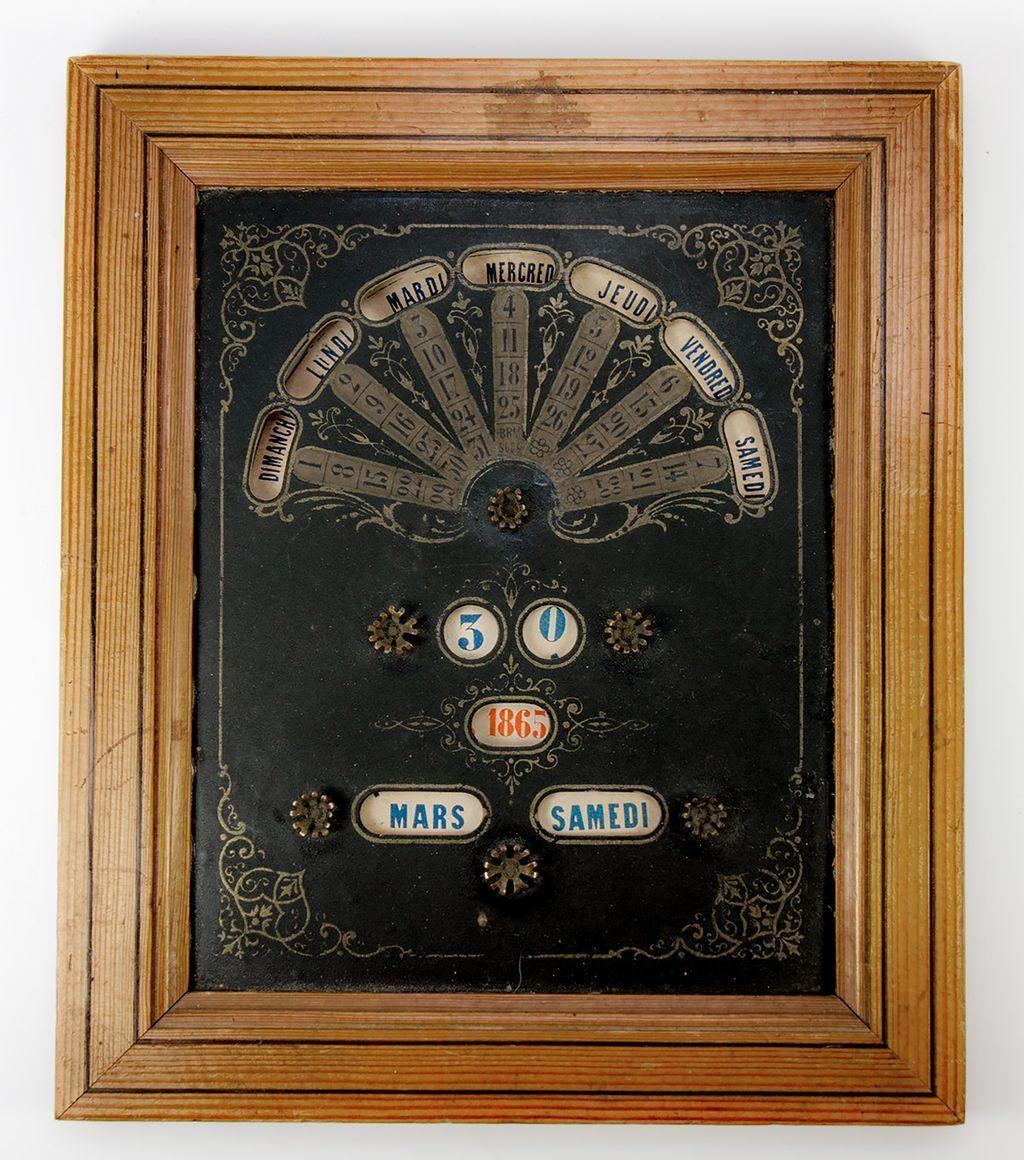 Antique French Napoleon III Perpetual Calendar in Frame, Ephemera, Card - Working Order