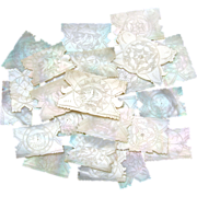Gorgeous 24pc Antique Napoleon III Chinese Import Mother of Pearl Game Chips, Silk Winders