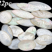 Antique Napoleon III Era Chinese Import 22pc Mother of Pearl Game Chips, Engraved Tokens