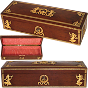 """LG Antique French Empire Revival Style 13.75"""" Jewelry, Desk or Gloves Box, Figural Accents"""