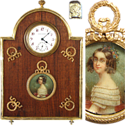 Rare Antique French Empire Revival Desk Clock, Portrait Miniature: Robert Linzeler marked Vermeil Sterling Silver