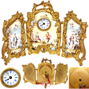 Lovely Antique French or Viennese Enamel Miniature Dressing Screen, a Desk or Boudoir Clock with 3 Figural Enamel Panels