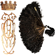 BIG Napoleon III Antique Ostrich Feather Mourning Fan, 18k Gold Monogram and Crown Appliqué, in Box