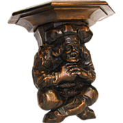 "Charming Antique Black Forest Style Carved Figural 11"" Wall or Bracket Shelf, Baker's Hat"