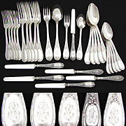Antique French Sterling Silver 30pc Flatware Set, 5p Setting for SIX, Beautifully Ornate Pattern