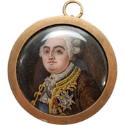 Antique Hand Painted Enamel Painting in Miniature on Porcelain Plaque, French Louis XVI