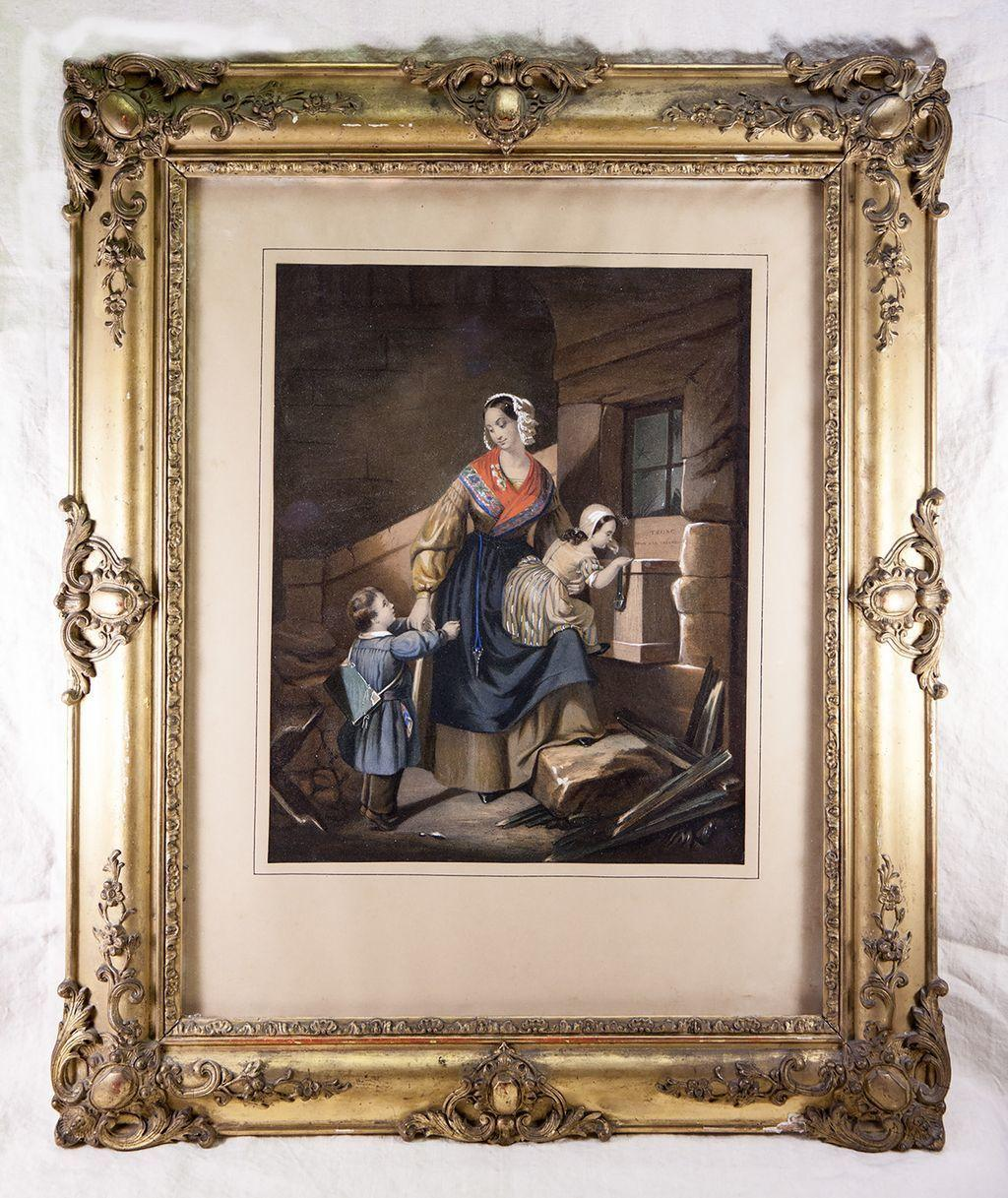 Antique French Frame and Superb Louis Philippe Era Chromo Print with Hand Painting, c. 1830-40