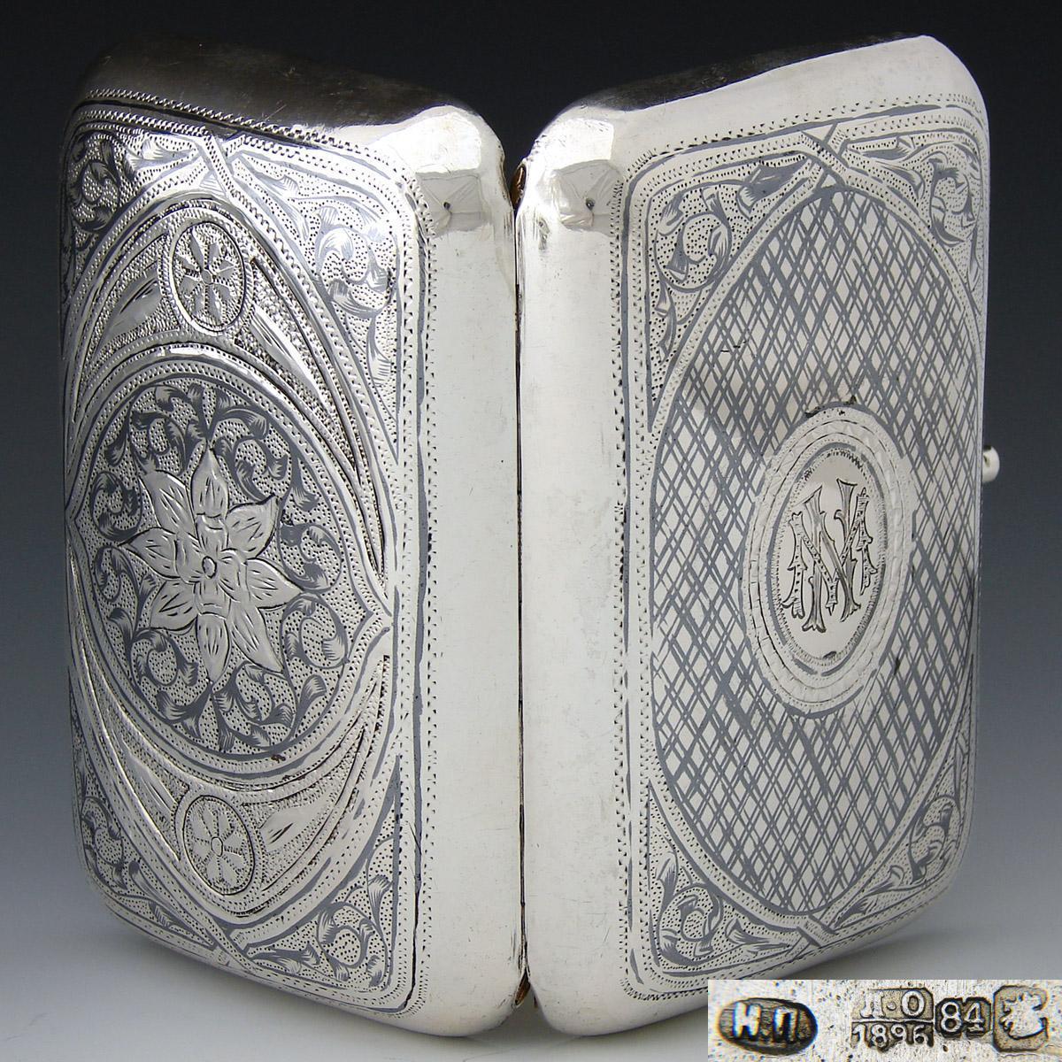 "Antique Russian Sterling Silver Cigar Case, 6+oz, Itska Lozinski, Moscow Silversmith, ""NM"" Monogram, c 1896 Niello"