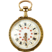Fine Antique 18k Gold Watch, Runs, Enamel Dial and