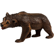"""Antique Black Forest Bear, a Large 8"""" Boar, Painted Mouth, Glass Eyes"""
