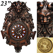 """Magnificent Antique French Black Forest Style Carved Oak 23"""" Wall Clock, Renaissance Revival Style Grotesque"""