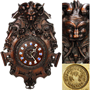 """SALE Magnificent Antique French Black Forest Style Carved Oak 23"""" Wall Clock, Renaissance ..."""