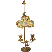 RARE Antique c.1700s French Louis XVI Candle Lamp, Silk Shade Bouillotte Lamp