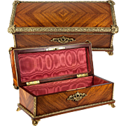 Antique French Kingwood Glove or Jewelry, Documents Box, Casket with Opulent Bronze Fittings