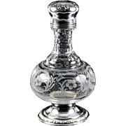 Antique French Sterling Silver Liqueur Decanter, Engraved Crystal Carafe w Lid